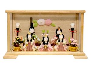 雛人形 木目込み 一秀作 コンパクト五人飾りケース飾り